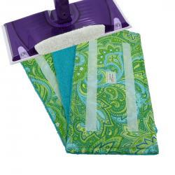 1 Reusable Wet Jet pad - Paisley Green with Teal Terry Cloth